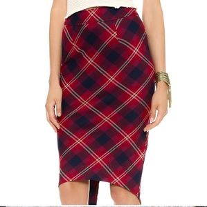 Free People Red Plaid Pencil Skirt 2